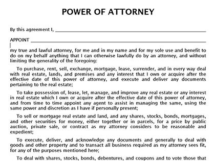 True Help Free Legal Forms – Blank Power of Attorney Form
