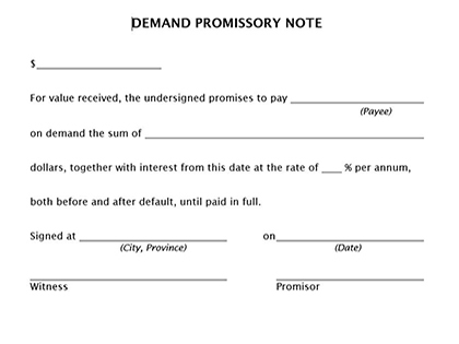 True help free legal forms for Promissory note template canada